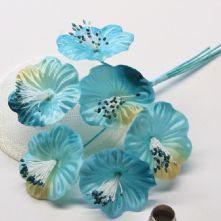 Vintage Aqua Blue Satin Blossoms x6